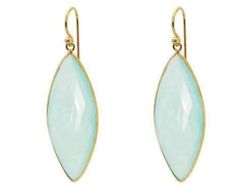 Milky Green Chalcedony Hook Earrings