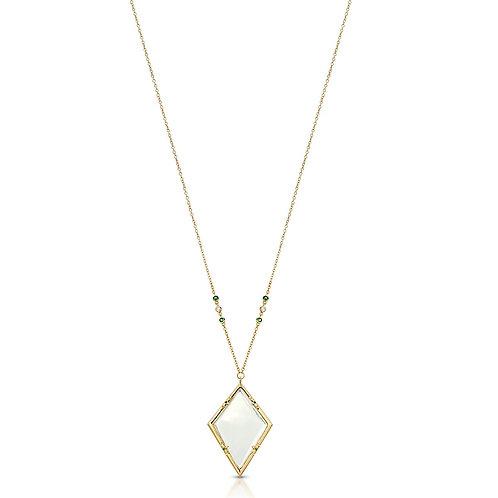 Emmeline Gold Emerald - Magnifier Pendant Necklace