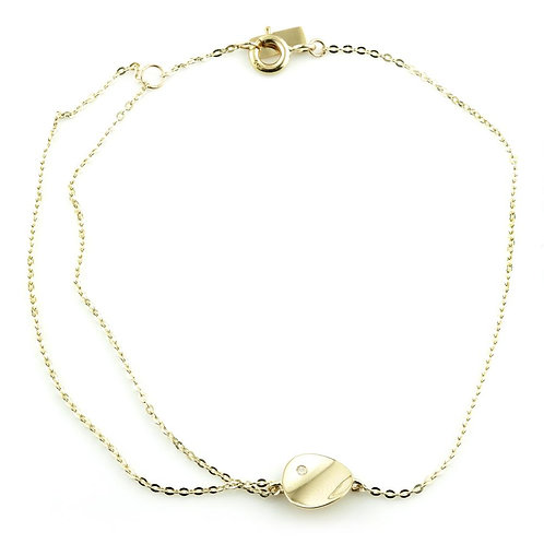 9ct Gold Curved Flat Disc With Crystal Chain Bracelet