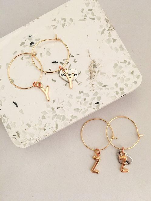 Initial Hoop Earrings Gold. Letter Hoop Earrings Gold.