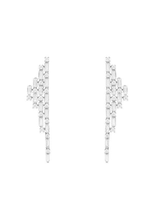 Opulence Baguette Drop Earrings Silver