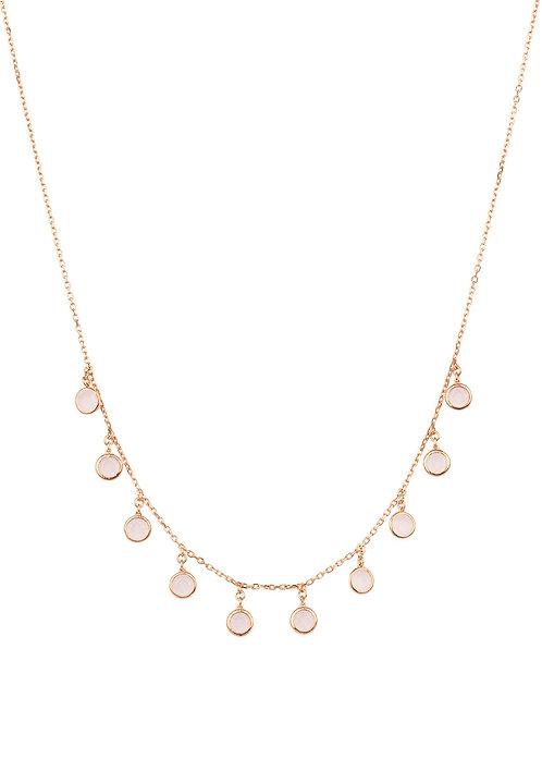 Florence Round Gemstone Necklace Rosegold Rose Quartz