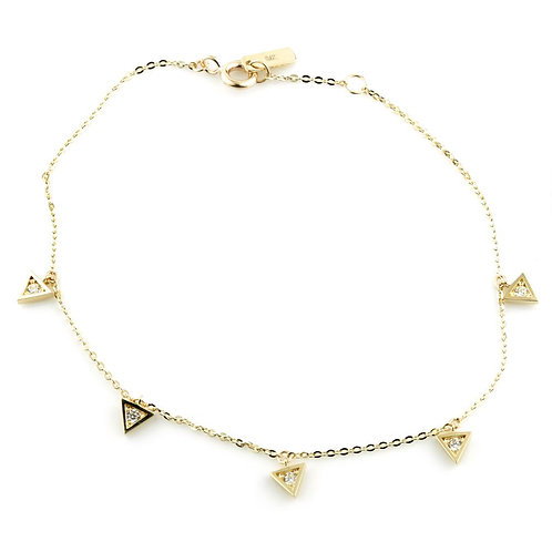 9ct Gold Crystal Triangle Charm Bracelet