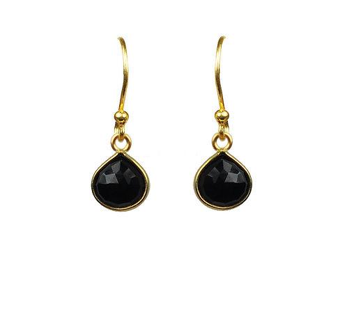Black Spinel Bezel Vermeil Earrings
