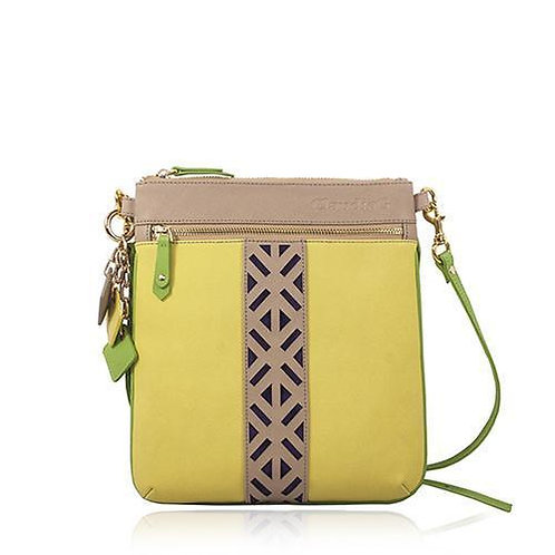 Lily Leather Cross Body- Tan/Canary Yellow