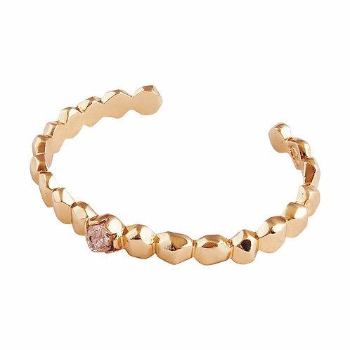 Golden Herkimer Diamond Quartz Cuff Bracelet