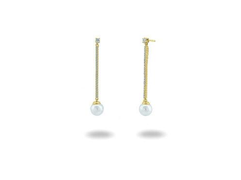 Bridal Line Drop Shell Pearl Earrings