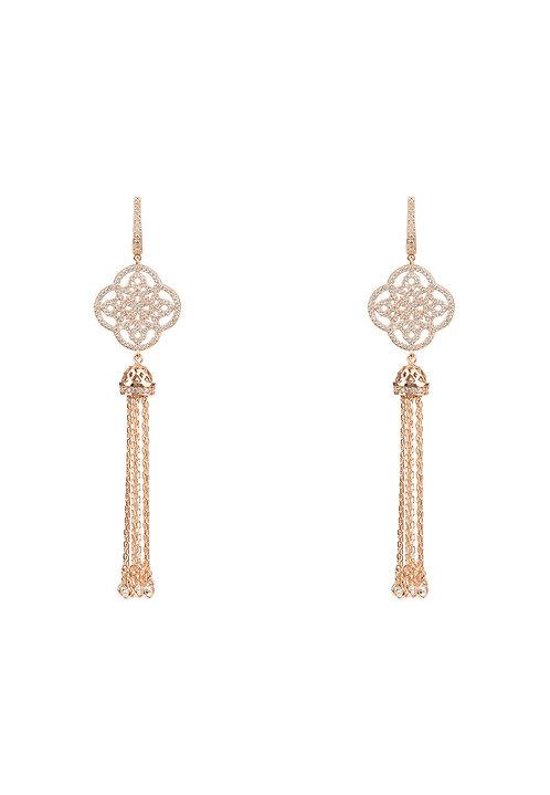 Celtic Knot Tassel Earrings Rosegold