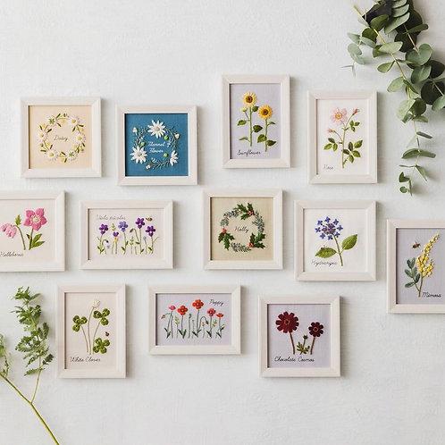 青木和子12ヶ月植物 Embroidery Kit x 12 sets