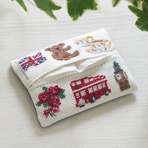 Cross Stitch Tissue Paper Case <London>