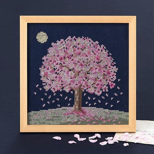 Cross Stitch Frame <Sakura in the Moonlight>