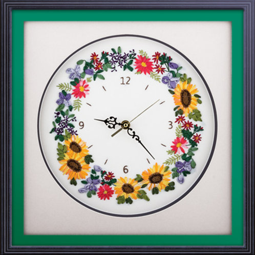 Flower Embroidery Clock