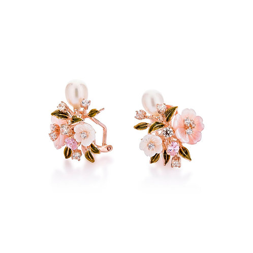 Flower Shell and Pearl Earrings