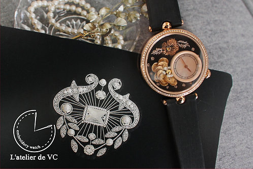 Camellia Flower Embroidery Watch