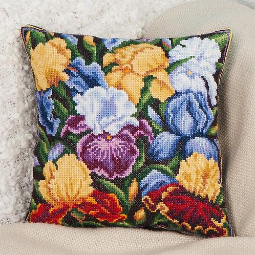 Iris Embroidery Cushion Cover