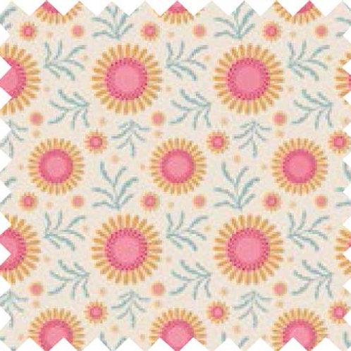 Tilda Sunflower Dove White Fabric (by 0.5m)