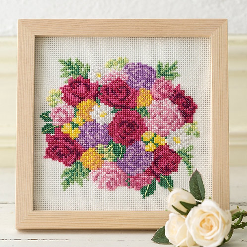 Cross Stitch Frame <Rose Bouquet>