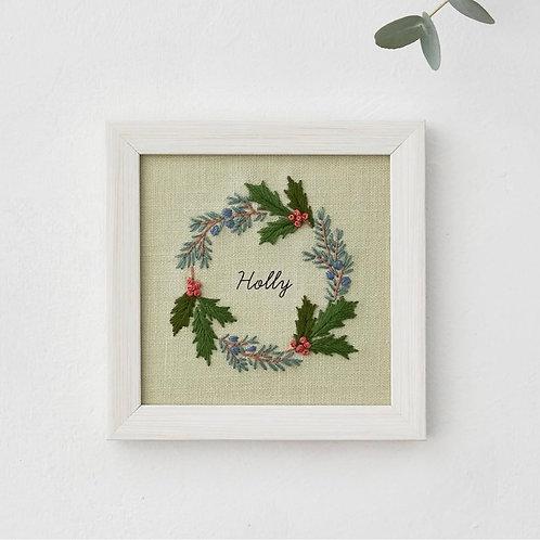 青木和子12ヶ月植物 Holly Embroidery Kit