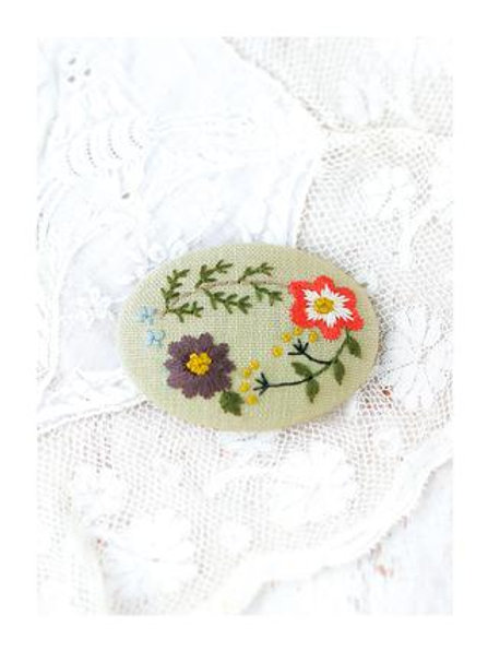 Wild Rose Embroidery Brooch Material Kit