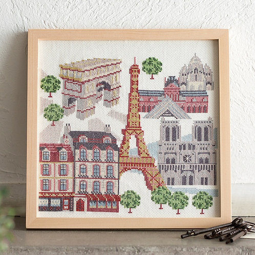 Cross Stitch Frame <Paris Cityscape>