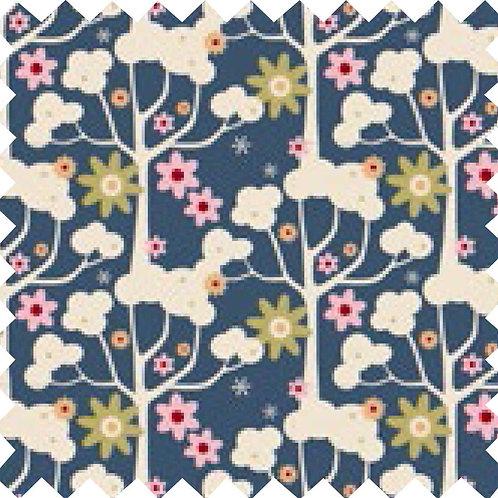 Tilda Wildgarden Dark Blue Fabric (by 0.5m)