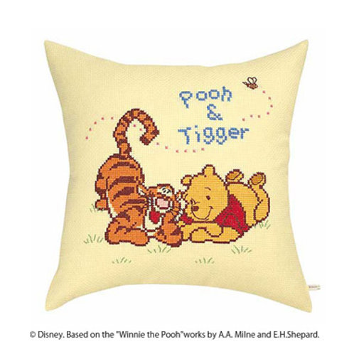 Pooh and Tigger Cross Stitch Cushion Cover