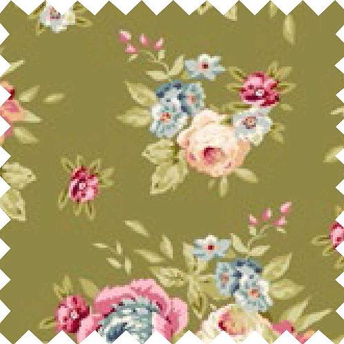 Tilda Garden Flowers Green Fabric (by 0.5m)