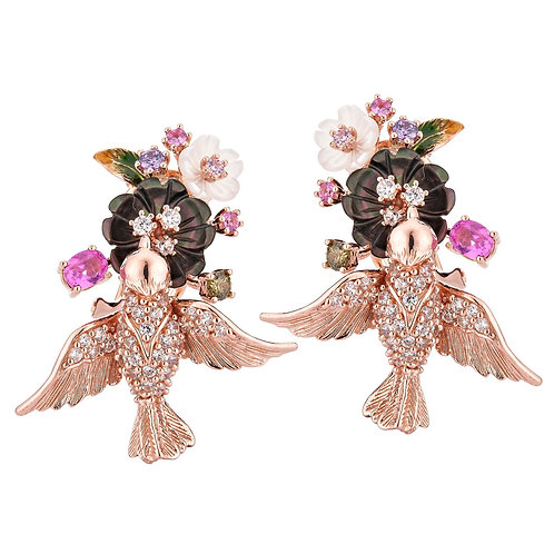 Flower and Birds Earrings