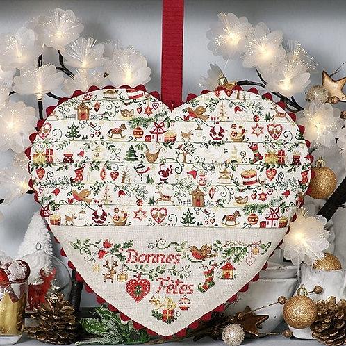 Linen « Christmas tales » Heart decoration