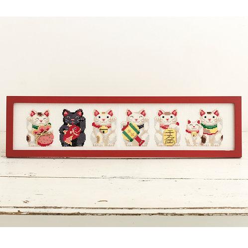 Cross Stitch Frame <Lucky Cat>