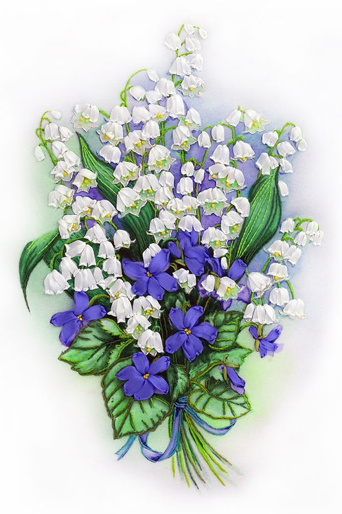 Lilies of the Valley and Sweet Violets Embroidery