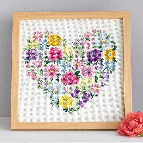 Cross Stitch Frame <Heart & Flower>