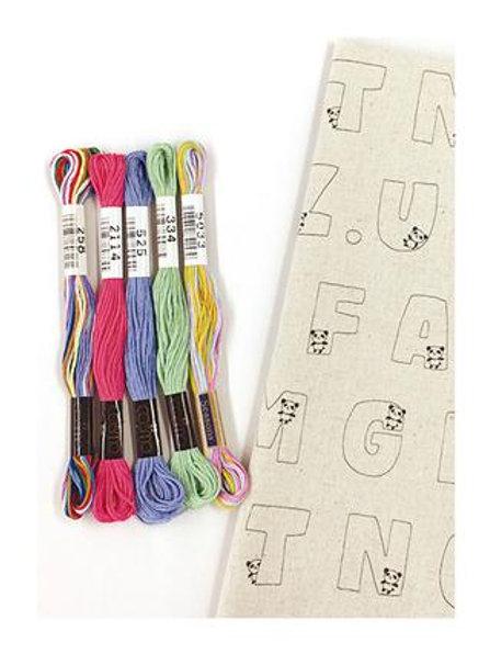 Panda Alphabetic Fabric Embroidery Kit