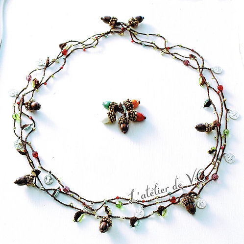 Acorn Motif Necklace material kit