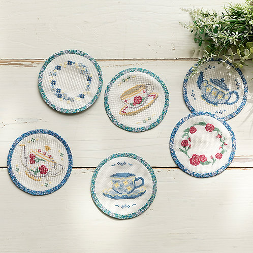 Cross Stitch Coasters <Pot & Cup>