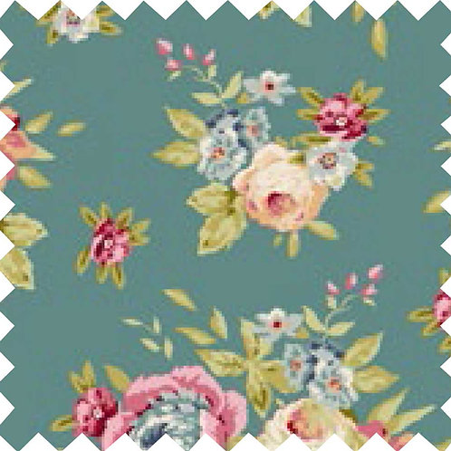 Tilda Garden Flowers Ocean Green Fabric (by 0.5m)