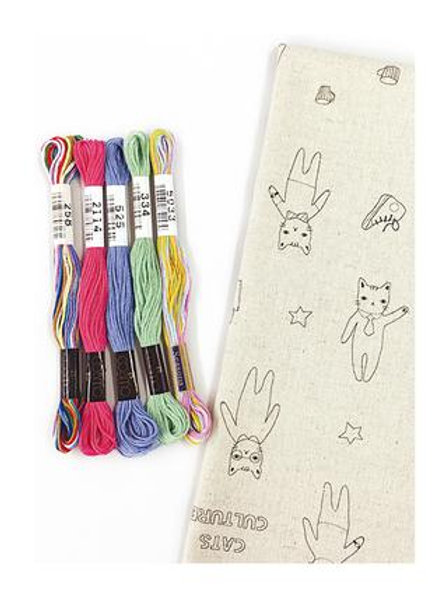Cat Fabric Embroidery Kit