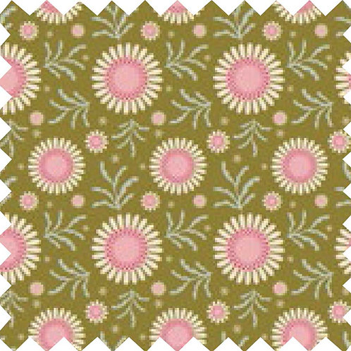 Tilda Sunflower Green Fabric (by 0.5m)