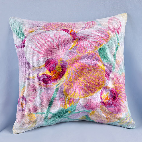 Orchid Embroidery Cushion Cover