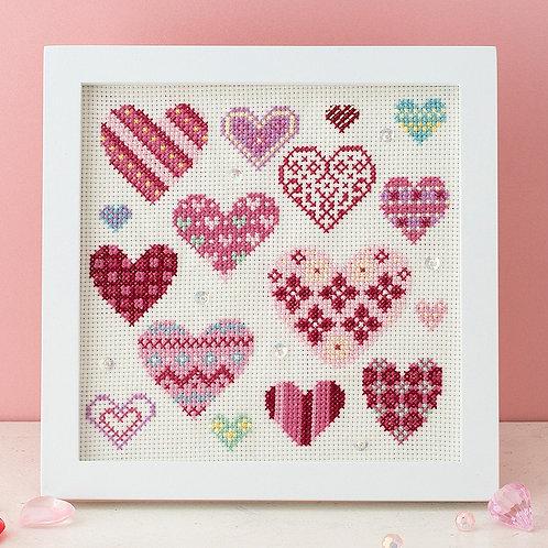 Cross Stitch Frame <Hearts>