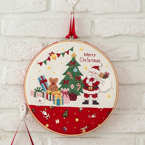 Cross Stitch Hoop Frame <Santa Claus & Tree>