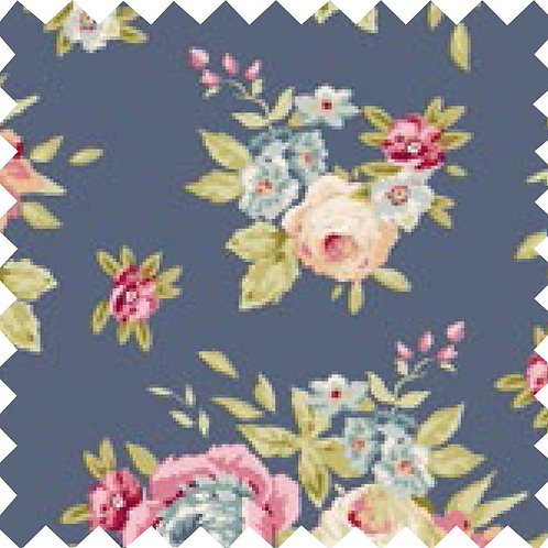 Tilda Garden Flowers Dark Blue Fabric (by 0.5m)