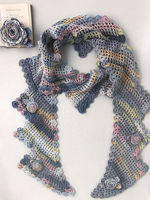 Crochet Floral Scarf Material Kit