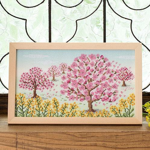 Cross Stitch Frame <Sakura Blossoms>