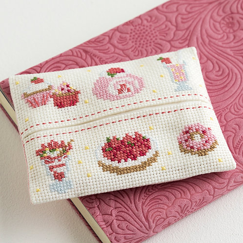 Cross Stitch Tissue Paper Case <Strawberry Sweets>