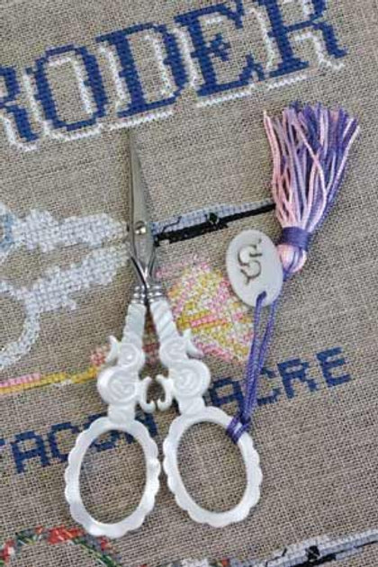 "SAJOU MOTHER OF PEARL STYLE EMBROIDERY SCISSORS - ""S"" MOTIF"