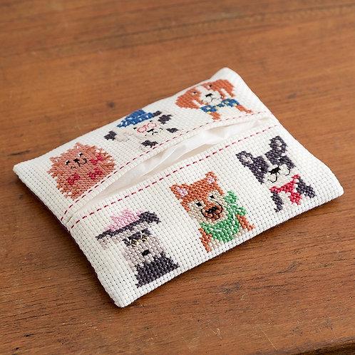 Cross Stitch Tissue Paper Case <Dog>