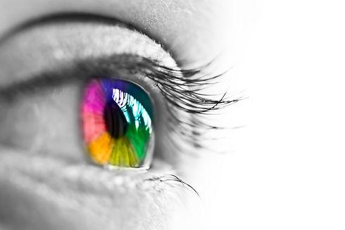 Girl colorful and natural rainbow eye on