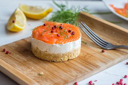Cheese cake de saumon fumé et blé noir au citron vert