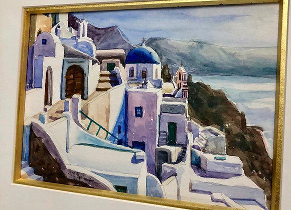 Mediterranean Coast watercolor, signed. Original